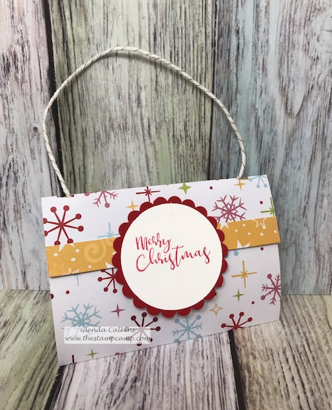 Cozy Prints Purse gift card holder.  You will have so much fun creating this fun purse gift card holder. details www.thestampcamp.com #fsj, #giftcard, #christmas, #thestampcamp