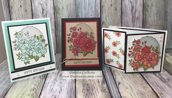 During Sale-a-bration with Stampin' Up! you get to choose from free stamp sets when you purchase $50.00 worth of products from any of the current catalogs. This is the Lovely Lattice free stamp set. #stampinup #glendasblog, #thestampcamp #handmadecards