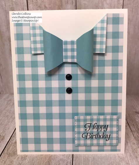 What a great masculine card for a birthday, graduation, Father's Day. Super simple to make and it used the Tailored Tag punch in a unique way. Details on my blog: www.thestampcamp.com #thestampcamp #stampinup #punches #masculine