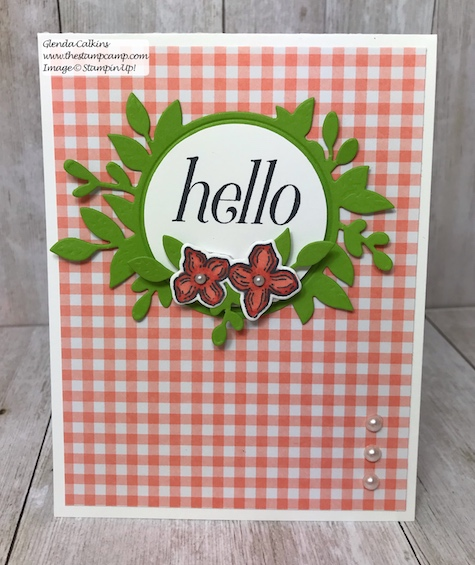 A simple card just to say hello.  This is a retiring stamp set from Stampin' Up! so purchase it soon before it is gone for good!  Details: www.thestampcamp.com #thestampcamp, #stampinup #retiring, #handmade