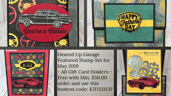 This is my featured stamp set for May Geared Up Garage.  Each card is also a gift card holder; great for Father's Day or Birthday's.  Details on my blog: www.thestampcamp.com #garagegear #stampinup #thestampcamp #masculine