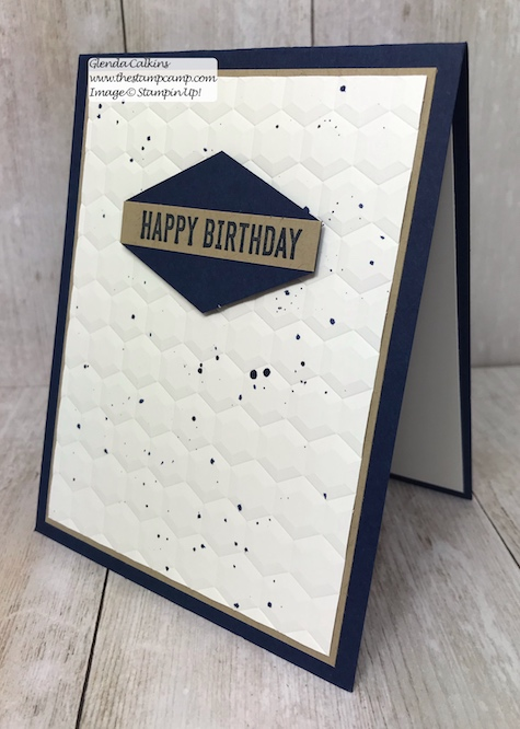 """Today's technique is the Reinker splatter technique. Super easy and the video is on my blog and YouTube channel """"the stamp camp"""". #stampinup, #masculine, #technique #thestampcamp"""