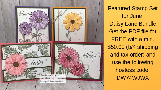 This is my featured stamp set for June Daisy Lane.  Details on my blog: https://wp.me/p59VWq-a6R #cards #cardkit #stampinup #thestampcamp