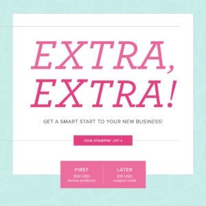 Extra Extra sign up during the months of July - August 31 and receive extra products in your starter kit. Details on my blog here: https://wp.me/p59VWq-aaP #stampinup #thestampcamp #starterkit #stamp
