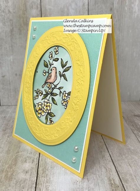 This is the Bird Ballad Designer Series Paper and the Heirloom Dies/Embossing Folders from Stampin' Up! Love the detail in the embossing. Details are on my blog here: https://wp.me/p59VWq-ah2 #stampinup #dies #embossing #thestampcamp #birdballad