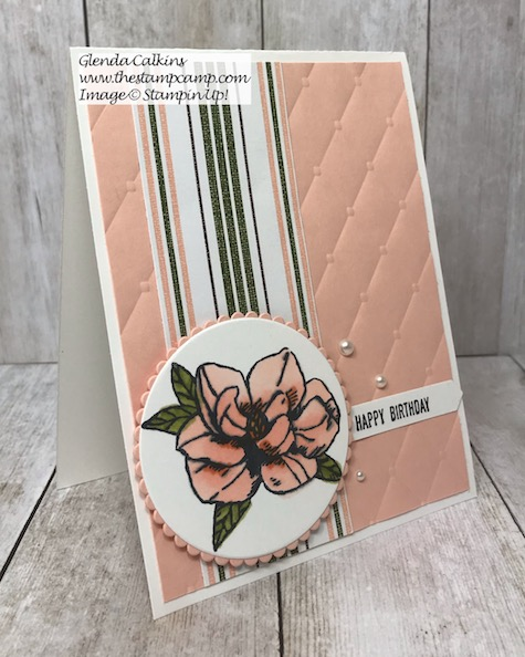 This is the Magnolia Blooms stamp set from the Stampin' Up! Beginners Brochure. Details can be found on my blog here: https://wp.me/p59VWq-ahv . #stampinup #magnolia #thestampcamp #stamps