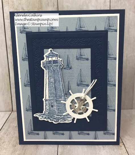 This is the Sailing Home Stamp Set from Stampin' Up! I paired it with the Heirloom Frames Dies & Embossing Folders. Details can be found on my blog here: https://wp.me/p59VWq-agU #stampinup #sailaway #thestampcamp #stamps
