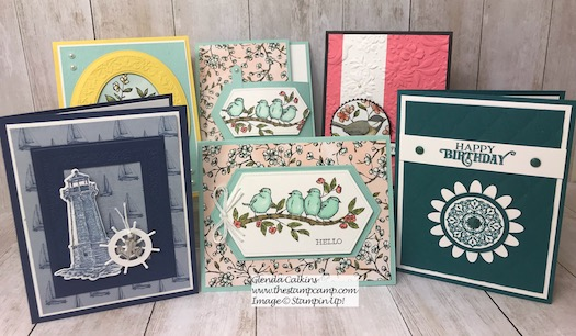 These were all the cards from this week's blog post.  The winner of this week's drawing will receive all these cards.  You can view the details on my blog here: https://wp.me/p59VWq-ahD .#thestampcamp #stampinup #weeklygiveaway #handmadecards