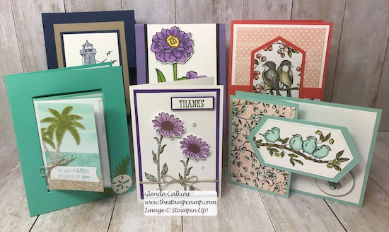 These are the cards going out in the mail today to a lucky subscriber and customer of my blog. Details are here: https://wp.me/p59VWq-acW #stampinup #thestampcamp #cards #giveaway #stamps
