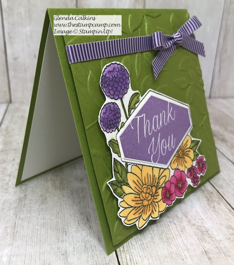 This is the Accented Blooms stamp set from Stampin' Up! It has a coordinating punch to go with the sentiments in the stamp set. It is called the Tailored Tag punch. Details are on my blog here: https://wp.me/p59VWq-ajj #stampinup #tailoredtag #punches #thestampcamp