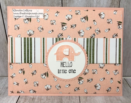 This Soft and Sweet Baby Card was created from the Magnolia Lane Designer Series Paper and the Little Elephant stamp set from Stampin' UP! Details on my blog here: https://wp.me/p59VWq-alO #stampinup #thestampcamp #baby #giftcardholder