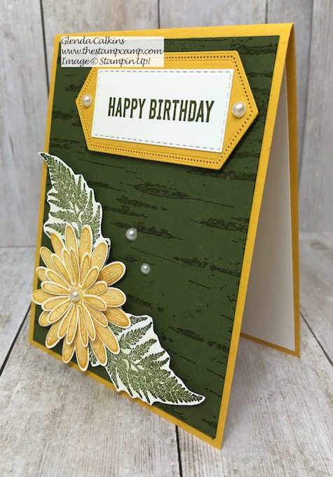 This is the Daisy Lane Bundle from Stampin' Up! with the Birch Background stamp. Details on my blog here: https://wp.me/p59VWq-alW #stampinup #thestampcamp #birch #daisylane
