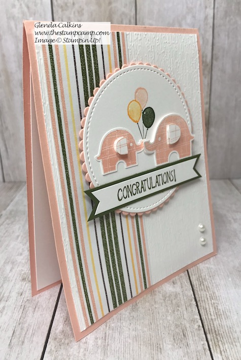 This Congratulations Baby card is super quick and easy to create and has a fun technique to go along with it. Stamp Set and Elephant punch from Stampin' Up! Details on my blog here: https://glendasblog.com/stampin-up-littl…ephant-baby-card/ #baby #stampinnup #babycard #thestampcamp