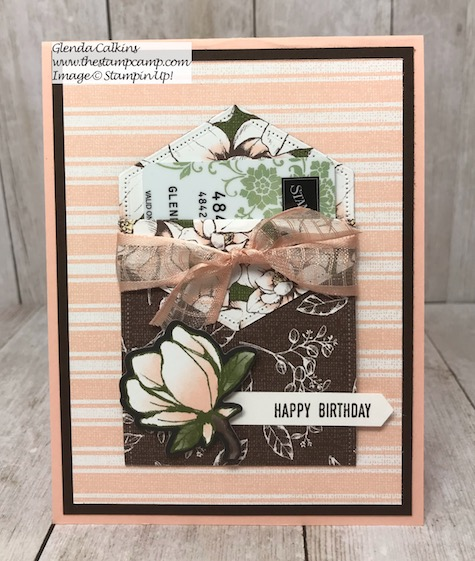 This is a gift card holder and a card created from the Stampin' Up! Magnolia Lane DSP and the Stitched Nested Labels Dies. Details are on my blog here: https://wp.me/p59VWq-akZ #stampinup #magnolia #stitchednesteddies #thestampcamp
