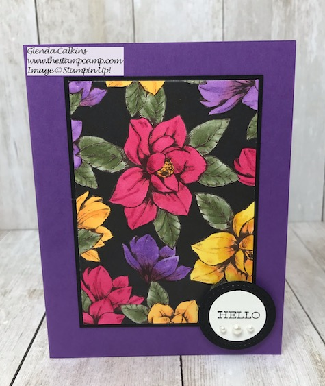 This gorgeous print is from the Magnolia Lane Designer Series Paper Pack from Stampin' Up! I altered the print using the Stampin' Up! Blends. Details on my blog here: https://wp.me/p59VWq-aiH #stampinup #thestampcamp #blends #magnolia