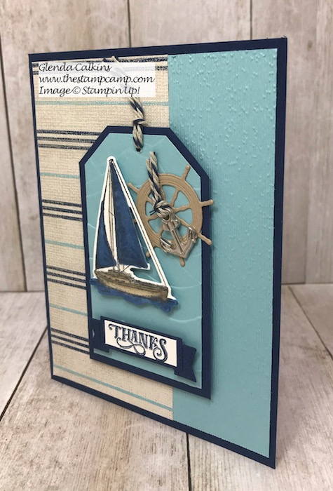 This is the Sailing Home Bundle with the Come Sail Away Designer Series Papers from Stampin' Up! Details can be found on my blog here: https://glendasblog.com/sailing-home-bundle-with-come-sail-away-dsp/ #stampinup #thestampcamp #sailinghome #sail