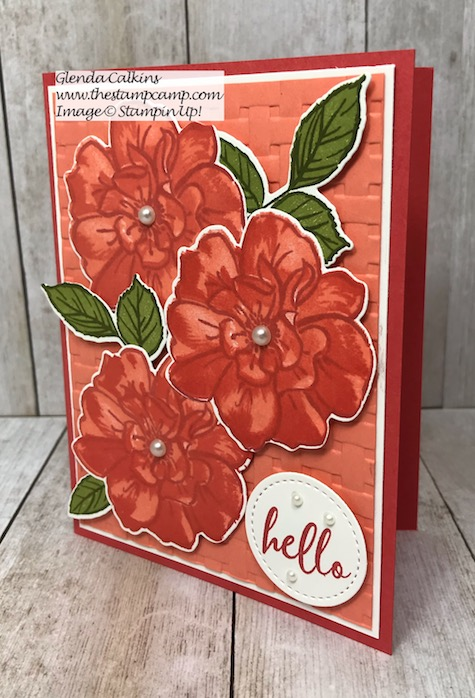 "My featured stamp set for August is the ""To A Wild Rose Bundle"" from Stampin' Up! This is one of the cards I created using the Stamparatus from Stampin' Up! The video is on my blog here: https://glendasblog.com/stamparatus-tips-for-the-to-a-wild-rose-bundle/ #stampinup #wildrose #stamparatus #thestampcamp"