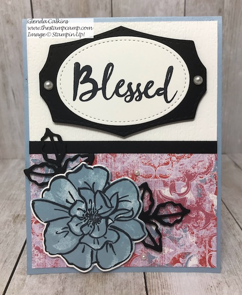 This is the Stampin' Up! Woven Heirlooms Designer Series Paper and the To a Wild Rose stamp set. This was done for a sketch challenge. Details are on my blog here: https://wp.me/p59VWq-akt #stampin #heirloom #wildrose #thestampcamp