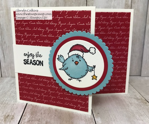 Birds of a Feather stamp set from Stampin' Up! has 4 little critters for your upcoming holiday cards and projects taking you from Halloween to Valentine's Day. Today's card is your Christmas Chick. Details on my blog here: https://wp.me/p59VWq-apk #stampinup #birdsofafeather #christmas #christmasbluebird