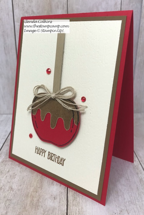 Caramel Apple anyone? I love how you can create these Caramel Apples using the Harvest Hello Bundle from Stampin' Up! Details and video on my blog here: https://wp.me/p59VWq-aoo #stampinup #harvesthello #thestampcamp #suckerholder