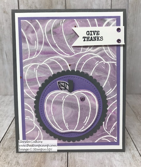 This is the Harvest Hellos Bundle with the Embossed Resists Shaving Cream Technique. Details and video on my blog here: https://wp.me/p59VWq-aqh #stampinup #thestampcamp #halloween #harvesthellos