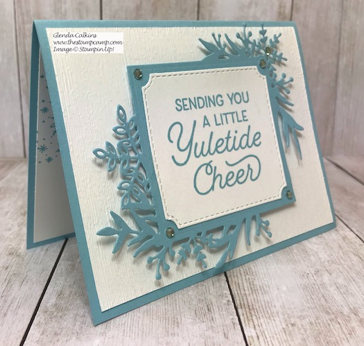 This is the Frosted Foliage Bundle from Stampin' UP! You can't see in the photo but it is sparkling. Details on my blog here: https://wp.me/p59VWq-asM #stampinup #thestampcamp #frostedfoliage #christmas