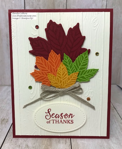 This is the Gather Together bundle with the Pinewood Planks Embossing Folder from Stampin' Up! Details can be found on my blog here: https://wp.me/p59VWq-av8 #stampinup #thestampcamp #gathertogether #fall
