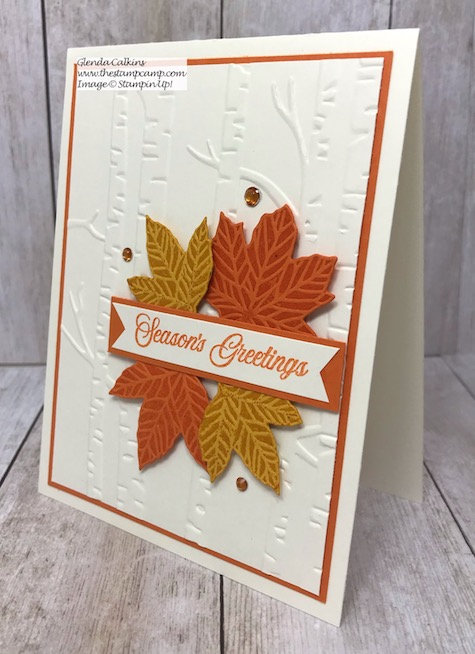 The Gather Together Bundle is perfectly paired with the Woodland Embossing Folder. Details on my blog here: https://wp.me/p59VWq-auC #thestampcamp #stampinup #woodlandembossing #fall #gathertogether