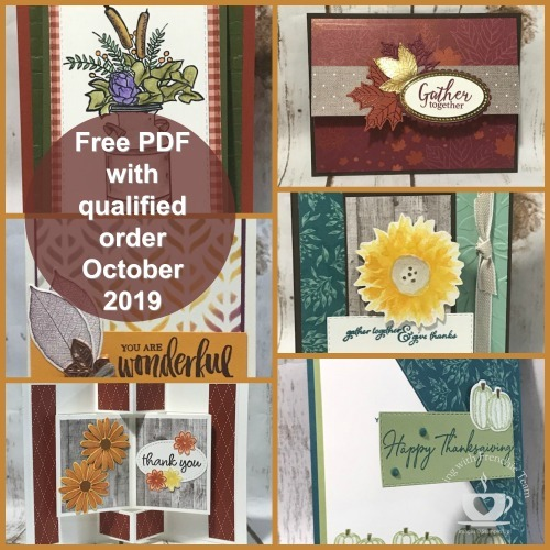 Customer Appreciation PDF file for October is free with a min. $40.00 order and the use of the current hostess code: 9JPHQMUG Details on my blog: https://wp.me/p59VWq-aqM #stampinup, #thestampcamp #Fall #glendasblog