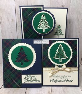 Three Cards One Sheet Wrapped In Plaid Paper