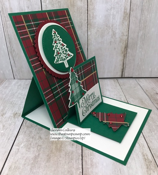 This is my featured stamp set/bundle for October 2019. It is the Perfectly Plaid Bundle from Stampin' Up! These are all different types of Easel Cards. Details on my blog here: https://wp.me/p59VWq-aqM #stampinup #easelcards #thestapmcamp #funfolds #christmas