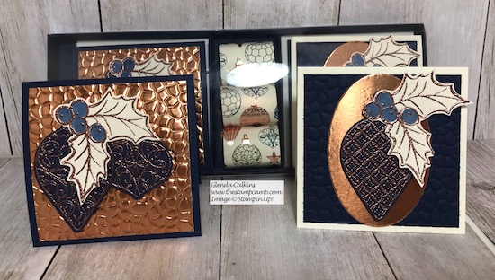 Sometimes you just want a little gift to give someone; check out this super cute little box with 6 cards and chocolates. I created this using my featured stamp set for this month Christmas Gleaming Bundle. Details on my blog here: https://wp.me/p59VWq-az4 #stampinup #thestampcamp #handmadegifts