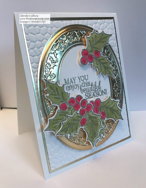 Christmas Gleaming bundle with the Heirloom Frames Dies and Embossing Folders. Details on my blog here: https://wp.me/p59VWq-aAy #stampinup #thestampcamp #christmas