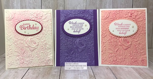 These cards feature the Brayered Embossing Folders technique. The embossing Folder used was the Country Floral embossing Folder. Details on my blog here: https://wp.me/p59VWq-awH #stampinup #countryfloral #thestampcamp