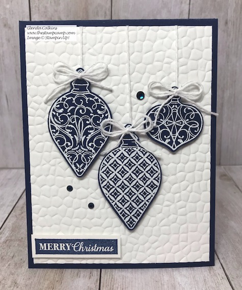 The ornaments on this card are from the Gleaming Ornaments punch pack from Stampin' Up! It is part of the Christmas Gleaming Bundle. Details are on my blog here: https://wp.me/p59VWq-awQ #stampinup #thestampcamp #christmas #ornaments