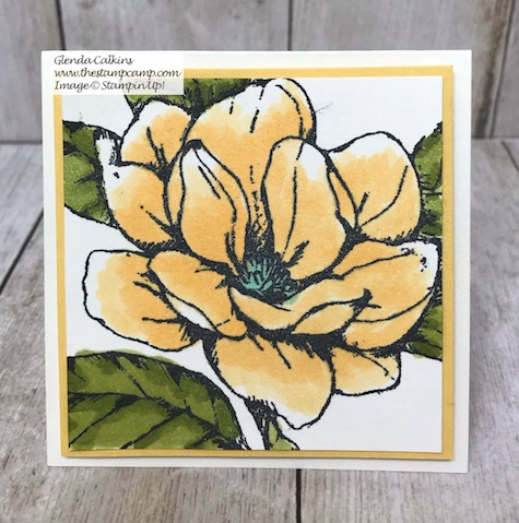 This little 3 x 3 card would be great in my little box with chocolates; who wouldn't like to receive this gift. Visit my Blog for details: https://wp.me/p59VWq-azh #stampinup #thestampcamp #handmadegift #magnolia