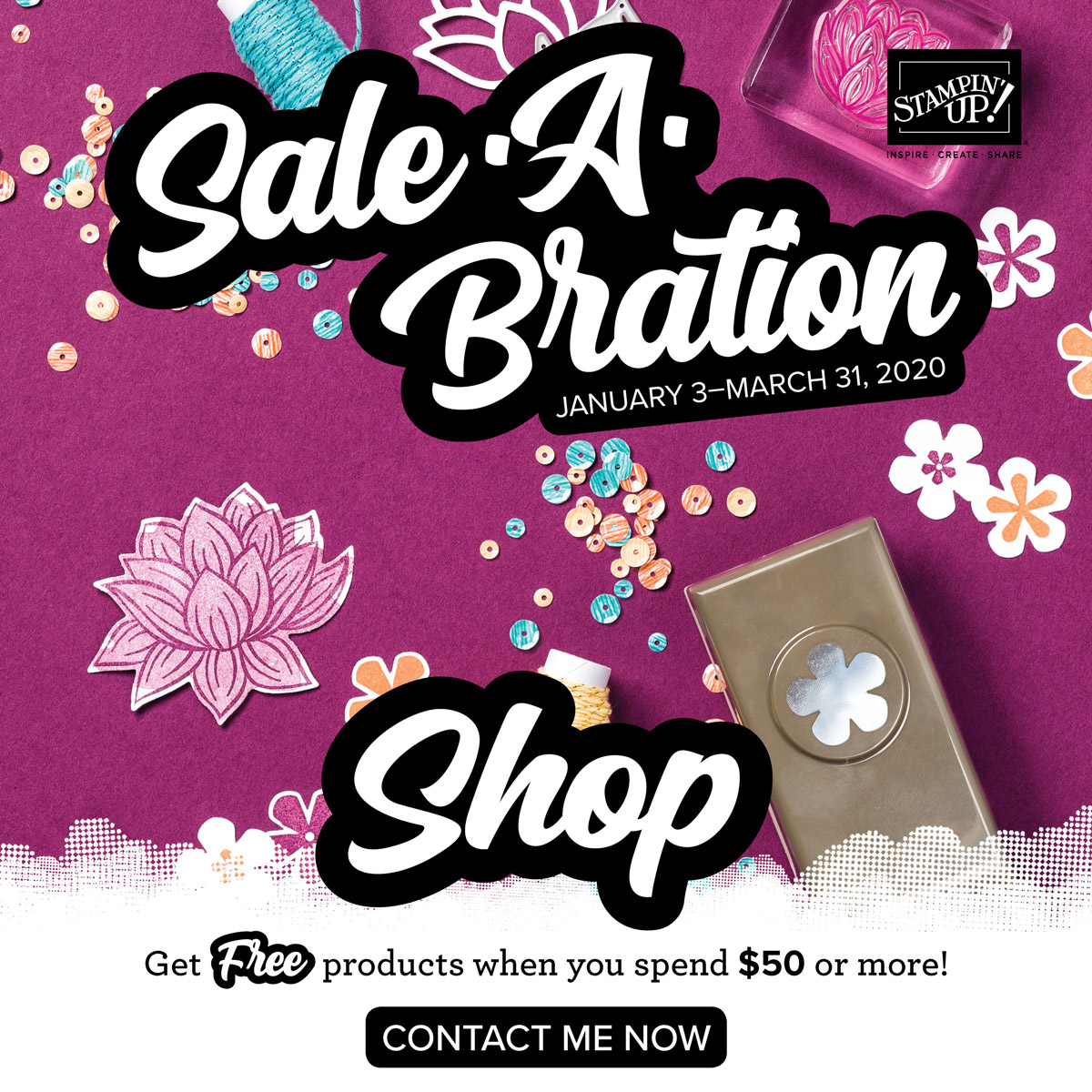 Beginning January 3, 2020 with a min. $50.00 order you can choose 1 item from the Sale-a-bration Brochure for FREE. Details on my blog here: https://wp.me/p59VWq-aF6