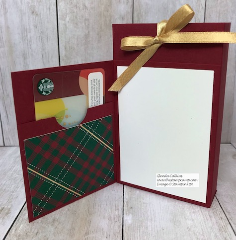 Today is Day 8 in my 12 Days of Christmas Gift Giving Ideas. This box holds a Starbucks Peppermint Bark and it also has a card and gift card on the front. Details on my blog here: https://wp.me/p59VWq-aBV . #stampinup #thestampcamp #treatbox #giftcardholder