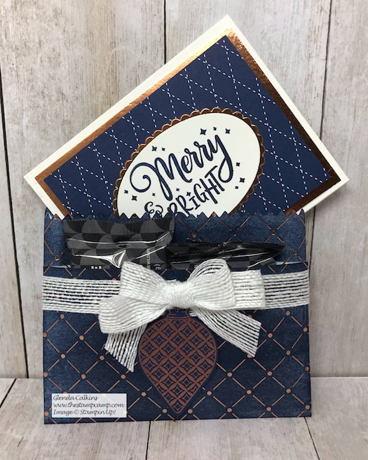 Tuesday's Tips & Techniques tonight Live on my Facebook page The Stamp Camp December 17, 2019 8PM EST . We will be creating this fun treat bag/gift card holder Details here: https://wp.me/p59VWq-aDb #stampinup #thestampcamp #glendasblog #gift