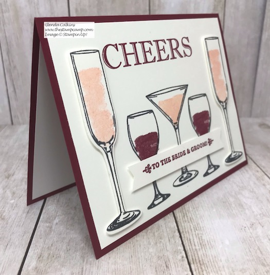 Cheers to the Bride and Groom! The Sip Sip Hooray stamp set is perfect for so many different occasions. Details on my blog here: https://wp.me/p59VWq-aFw #stampinup #brideandgroom #thestampcamp