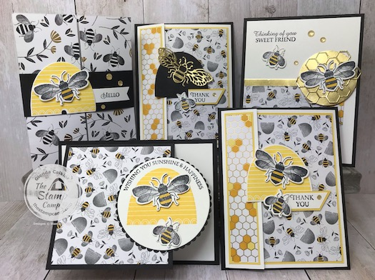 This is the Honey Bee Bundle and the Golden Honey Designer Series Paper from Stampin' Up! Details for the PDF file are on my blog here: https://wp.me/p59VWq-aKf #stampinup #honeybee #saleabration #thestampcamp