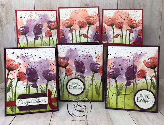 This is a print from the Peaceful Poppies Designer Series Paper Pack; turned into 6 cards using just 1 sheet. Details can be found on my blog here: https://wp.me/p59VWq-aLF #stampinup #thestampcamp #peacefulpoppies