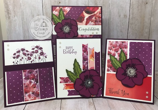 This is the Peaceful Poppies Suite from Stampin' Up! This is the bundle for my Online Class for February using the Peaceful Poppies Designer Series Paper Scraps Class. See my blog for class details Here: https://wp.me/p59VWq-aLe #stampinup #thestampcamp #poppies