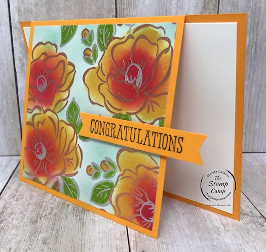 Flowering Foils Fun Fold card from Stampin' Up! Details are on my blog here: https://wp.me/p59VWq-aSR . #stampinup #floweringfoils #thestampcamp #saleabration