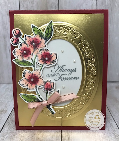 "This is my Gold Faux Frame with my featured stamp set for the month of March 2020 ""Forever Blossoms"". Details are on my blog here: https://wp.me/p59VWq-aS3 . #stampinup #foreverblossoms #thestampcamp #wovenheirlooms"