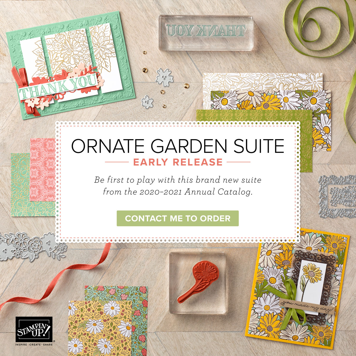 This is the Ornate Garden Suite of products a sneak peek as to what is coming in the next Stampin' Up! annual catalog. Details are on my blog here: https://wp.me/p59VWq-aT0 . #ornatesuite #stampinup #thestampcamp #paperscraps