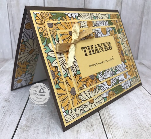 The Ornate Garden Specialty Designer Series Paper paired with the Stitched Rectangles dies create the Perfect Triple Framed card. Details can be found on my blog here: https://wp.me/p59VWq-aXy . #stampinup #tripleframe #ornategarden #thestampcamp