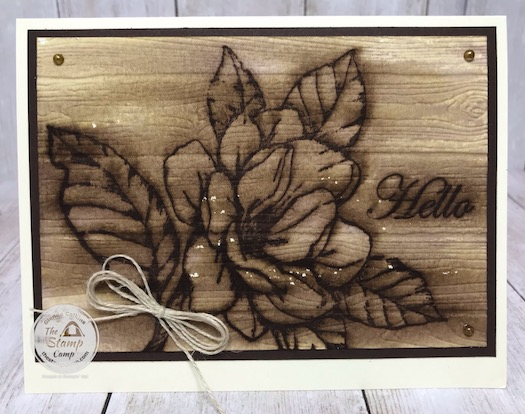 This is the faux Wood Burning Technique with the Good Morning Magnolia stamp set. Watch me take it from simple stamping to Wow stamping. Details on my blog here: https://wp.me/p59VWq-bej. #stampinup #technique #magnolia #thestampcamp