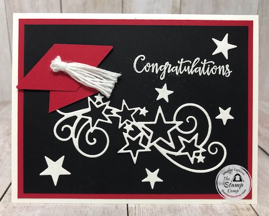 Are you in need of a graduation card? Don't know where to begin and don't have much in supplies? Do you have the Tailored Tag Punch? If so you can create a graduation hat so easy. Visit my blog here for details: https://wp.me/p59VWq-aZp. #stampinup #graduation #tailoredtag #thestampcamp