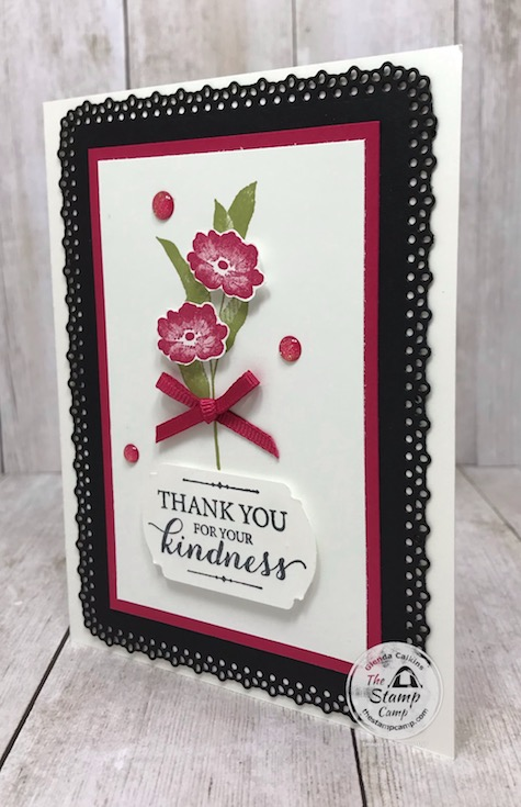 The layered with kindness stamp set from Stampin' Up! is on the retired list which ends on June 2nd. Details for this card and supplies is on my blog here: https://wp.me/p59VWq-bfB. #stampinup #thestampcamp #glendasblog #layeredwithkindness
